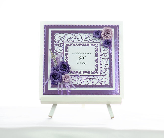Handmade 90th Birthday Card | Paper Flowers | Purple | Arzu Ziegler | Lower Hutt | NZ