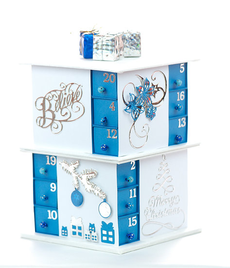 Christmas Advent Paper Calendar | 24 compartments | blue and white theme
