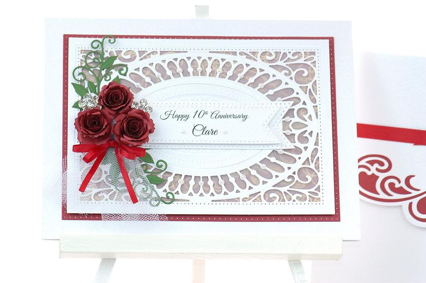 Handmade Anniversary Card | Paper Flowers | Red | ARZU ZIEGLER | NZ