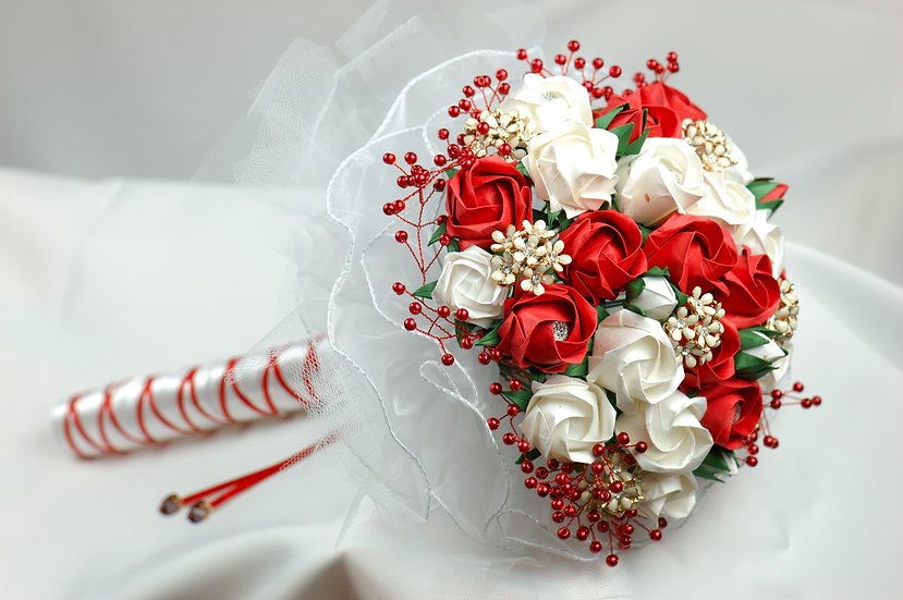 Handmade Bridal Bouquet with paper flowers