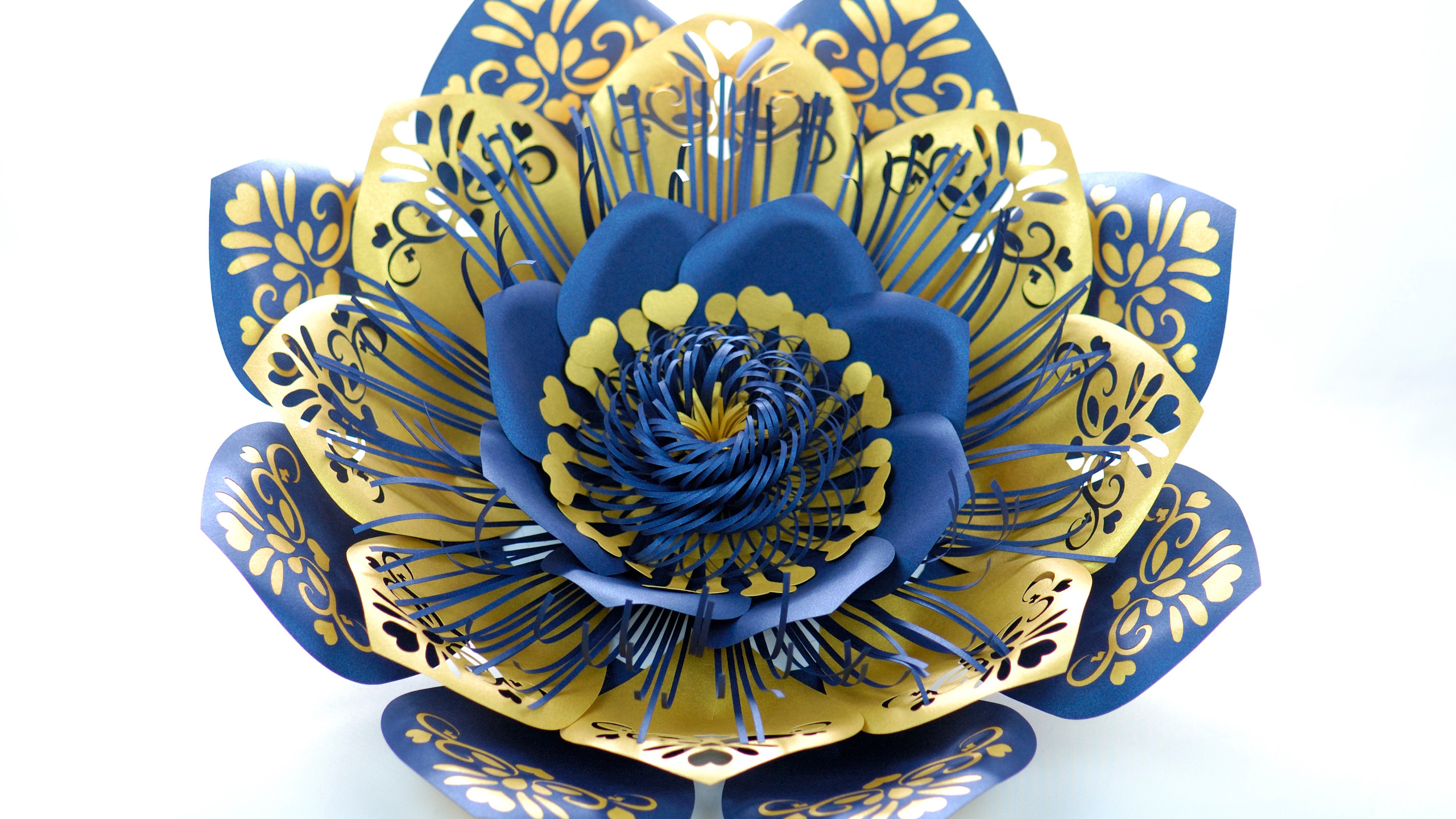 Giant Paper Flowers Blue Gold