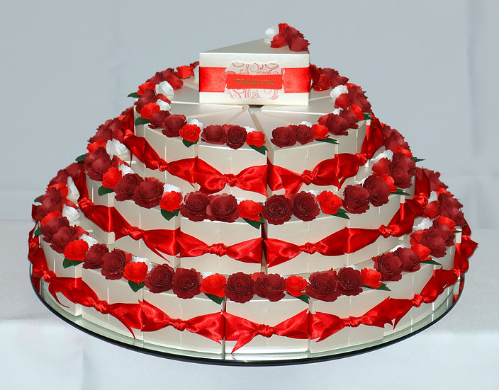 Wedding Favour Boxes with flower decorations - 3 tier total view