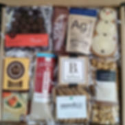 Gourmet gift box. Holiday gifts, client gifts. local, artisan, small batch.  cookies, caramel corn, chocolate, fruit, nuts, toffee, salami, crackers. deliverand ship.