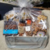 Gourmet gift basket. cookies, nuts, chocolate, toffee, caramel corn, fruit. wood crate. local, artisan, small batch makers.