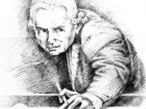 Pen drawing of Kant playing billiards