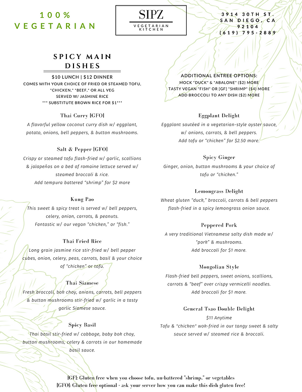 Sipz North Park Menu