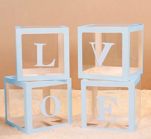 30*30*30cm Transparent Party Balloon Box Set -Blue Word LOVE