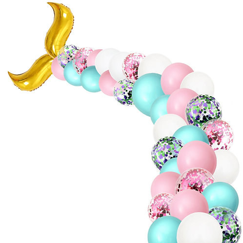 Mermaid Tail Party Balloon Box Set - Cyan, Pink and White