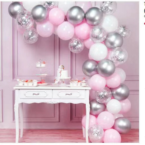 Macaroon Pink Themed Party Balloon Combination Set - Silver Pink