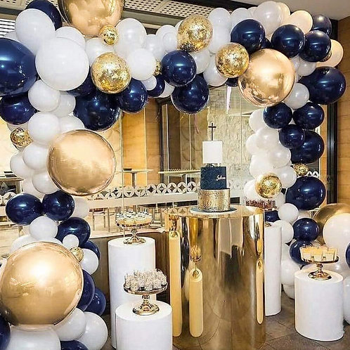 Dark Blue Gold Themed Party BalloonCombination