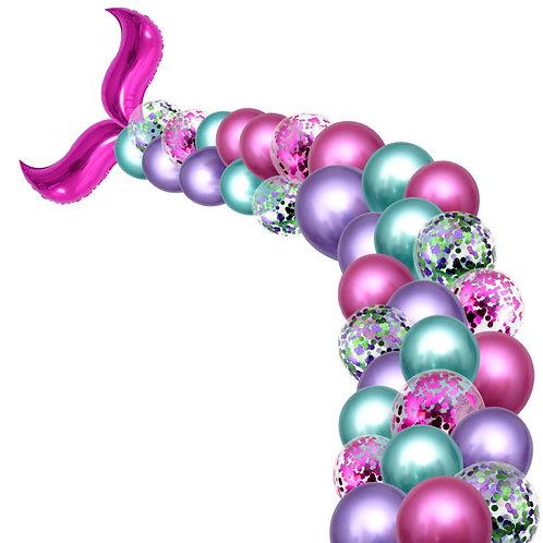 Mermaid Tail Party Balloon Box Set - Metallic Rose