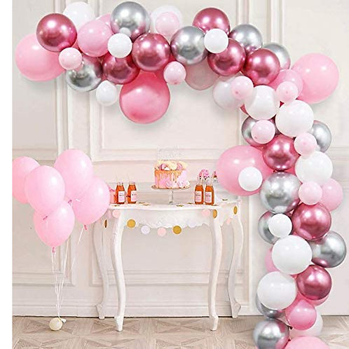 Macaroon Pink Themed Party Balloon Combination Set - Metallic Rose Gold