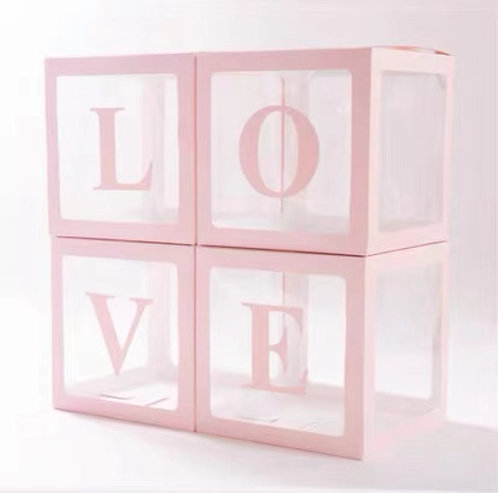 30*30*30cm Transparent Party Balloon Box Set -Pink Word LOVE