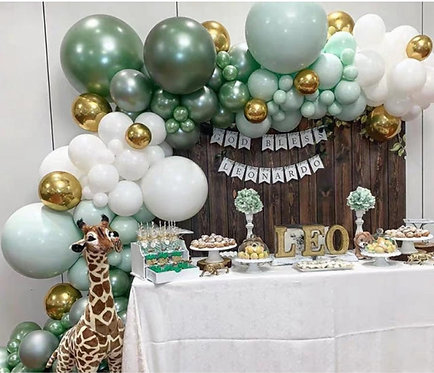 Makaron Gold Metallic Green Party Balloon Box