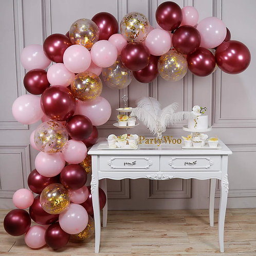 Macaroon Pink Themed Party Balloon Combination Set - Red and Gold