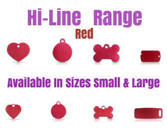 Hi-Line Range Red, Available in Sizes Small and Large in Bone, Circle, Heart, Luggage, Military Tag,