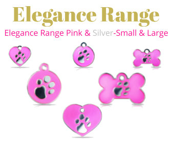 Elegance Range PET I D TAGS Pink & Silver, Enamel Filled Tag, With Embossed PawPrint on Front in 925 Silver Plating