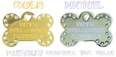 Swarovski Gold and Nickel Premium Designer Tag Ware By PET TAGS DIRECT Dublin Ireland Small and Large WorldWide Delivery,