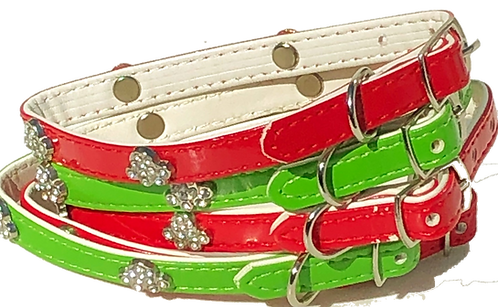 PET TAGS DIRECT Dublin Ireland Red & Green Diamante Paw Dog Collar For Small Dogs & Puppy