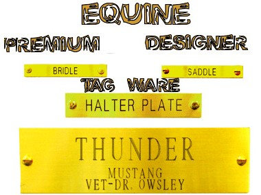 Equine Designer Tag Ware By PET TAGS DIRECT Dublin Ireland Premium Professional Stall Halter Bridle Saddle WorldWide Delivery