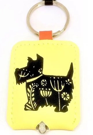 Scottie Dog Woodcut Style Key Ring On Yellow With Integrated Light Fun & Practical By PET TAGS DIRECT Dublin Ireland,