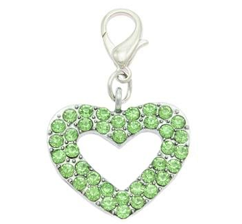 Green Crystal Heart Collar Charms By PET TAGS DIRECT.ie Dublin Ireland
