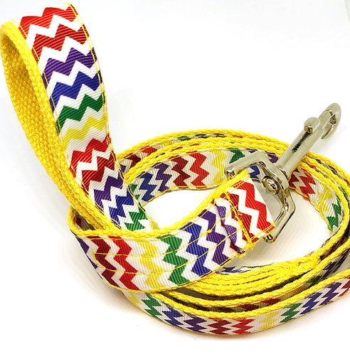 Custom Collar & Leash Chevron Rainbow Set, Hand Made Custom Collar & Leash Pet Accessories, Chevron Rainbow Dog Collars,