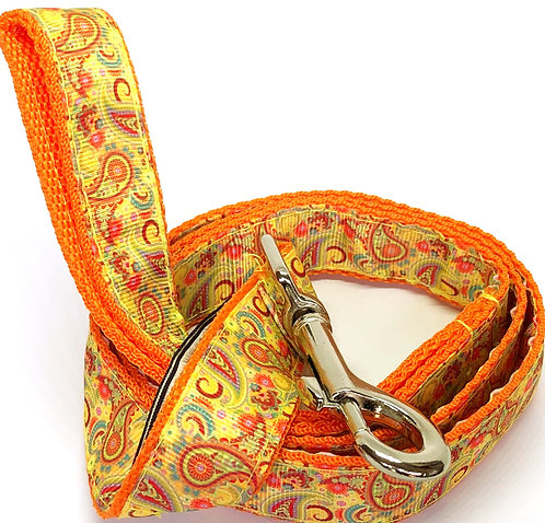 Custom Orange Paisley Collars & Leash Hand Made By PET TAGS DIRECT Dublin Ireland