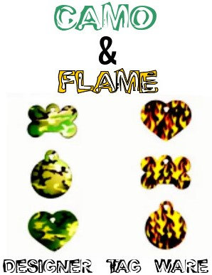 Camo and Flame Designer Tag Ware By PET TAGS DIRECT Premium Bone Circle Heart WorldWide Delivery,