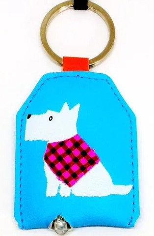 White Scottie Blue Key Ring, Custom Scottie Dog Key Rings By PET TAGS DIRECT Dublin Ireland,