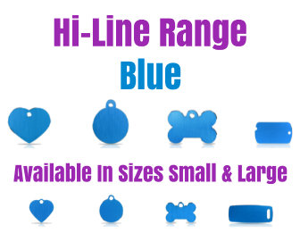 Hi-Line Range PET I D TAGS Blue Available in Sizes Small and Large, Available in Bone, Circle, Heart, Luggage, Military Tag