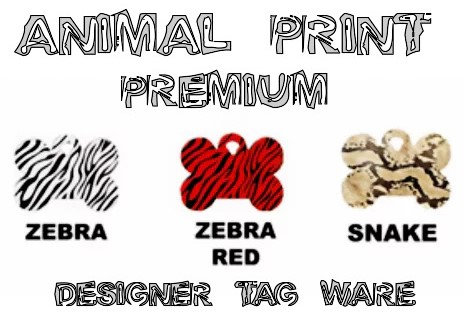 Animal Print Designer Tag Ware Premium By PET TAGS DIRECT Dublin Ireland Bone Circle Heart WorldWide Delivery,