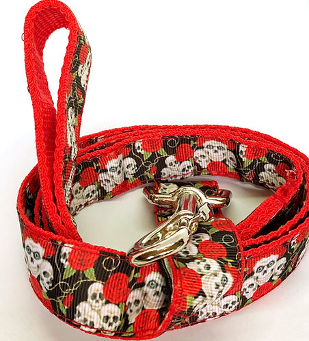 Skulls & Roses Custom Collar And Leash Set By PET TAGS DIRECT Dublin Ireland, Skulls & Roses Dog Collar & Leash,