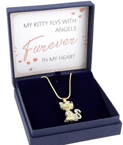 Kitten / Cat Pet Bereavement Necklace Gold / Silver Gift Boxed By PET TAGS DIRECT Dublin Ireland,