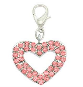 Red Crystal Heart Collar Charms By PET TAGS DIRECT.ie Dublin Ireland