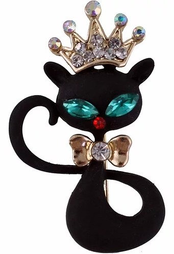Black Enamel Cat Brooch With Crystals, Custom Cat Giftware, Gifts Galore Direct To Your Door By PET TAGS DIRECT Dublin,