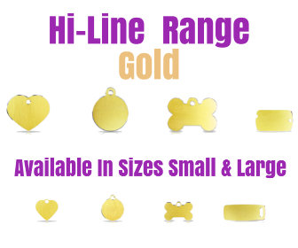 Hi-Line Range Gold Available in Sizes Small, Large in Bone, Circle, Heart, Luggage Tag, Military Tag,