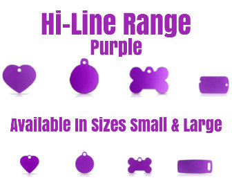 Hi-Line Range PET I D TAGS Purple Available in Sizes Small, Large, in Bone, Circle, Heart, Luggage Tag, Military Tag,