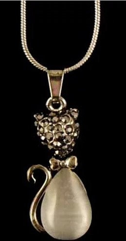 Diamante Cat Pendant With Chain, Custom Giftware For Cat Lovers, Gifts Galore Direct To Your Door By PET TAGS DIRECT Dublin,
