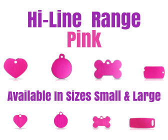 Hi-Line Range Pink PET I D TAGS Available in Sizes Small and Large in Bone, Circle, Heart, Luggage Tag, Military Tag,
