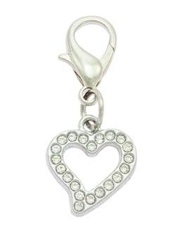 Crystal Encrusted Heart Pet Charm For Dog and Cat Collars By PET TAGS DIRECT.ie Dublin Ireland
