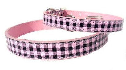 Custom Collars By PET TAGS DIRECT Dublin Ireland Pink & Black Checkered Style