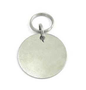 Hand Stamped Nickel Plated Circle By PET TAGS DIRECT.ie Dublin Ireland