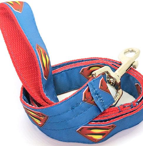 Super Man Dog Collar & Leash Set Comic Book Super Hero Pet Accessories,