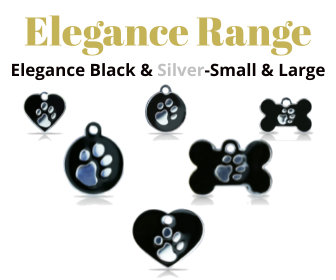 Elegance Range PET I D TAGS Black & Silver, 925 Silver Plated, Enamel Filled With Paw Print, Strong, Durable, For Dog & Cat