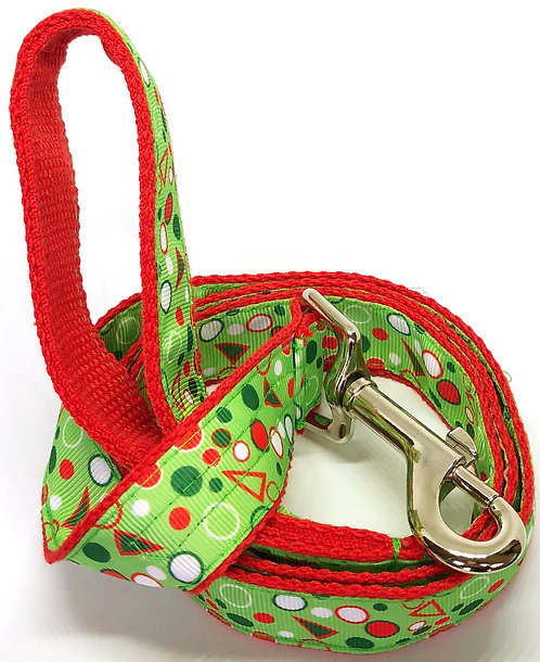 PET TAGS DIRECT Dublin Ireland Dog Leash Splish Splash With A Dash Red Green Spots Dots With Triangles