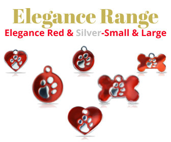 Elegance Range PET I D TAGS, Red & Silver, Available in Small & Large in Bone, Circle, Heart