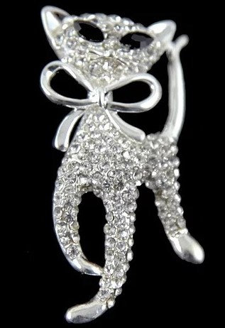 Silver Diamante Cat Brooch, Stunning Diamante Cat Brooch For Cat Lovers, Sparkling Diamante Cat Brooch,