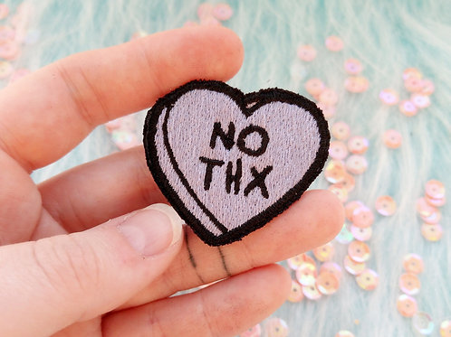 """Candy heart """"no thanks"""" embroidered patch"""