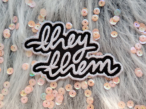 They them pronouns embroidered patch